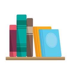 books on shelf bookstore or library symbol vector image