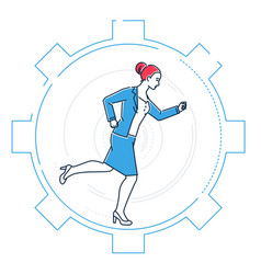businesswoman running in a gear - line design vector image