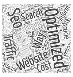 BW Low cost SEO Word Cloud Concept vector image