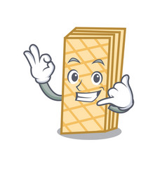 call me waffle mascot cartoon style vector image