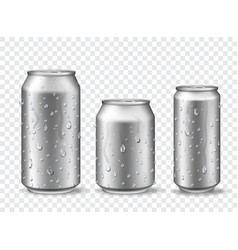 Cans with condensation cold aluminum beer energy vector