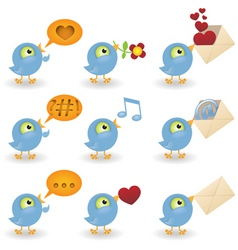 Cartoon birds icon set vector