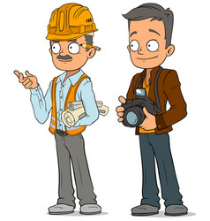 cartoon engineer and photographer characters set vector image