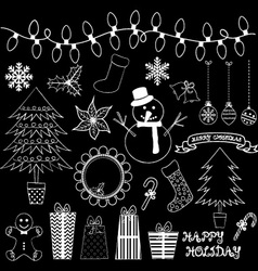 Chalkboard Christmas Doodles Collections vector