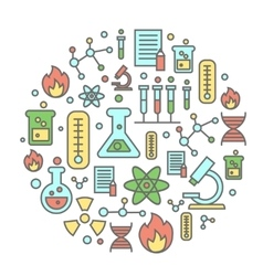 Chemistry flat concept with lab research equipment vector image