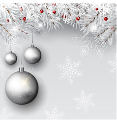 christmas baubles on silver branches vector image