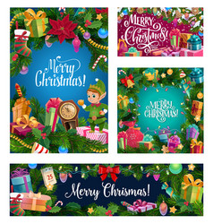 christmas tree wreath decorations and santa gifts vector image