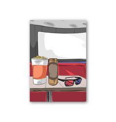 cinema set cinema glasses popcorn beer poster vector image