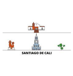 Colombia santiago de cali flat landmarks vector