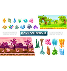 colorful game landscape elements collection vector image
