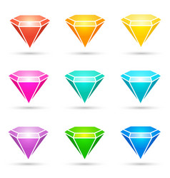 Colorful shiny diamond icons set vector