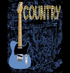 Country pickin guitar poster vector