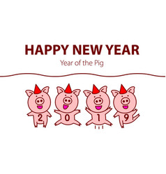 cute funny pig happy new year chinese symbol of vector image