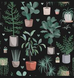Cute houseplants on dark background house indoor vector