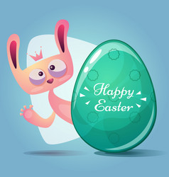 cute princess rabbit happy easter vector image