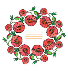 Decorative wreath of poppies vector