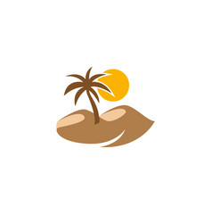 desert logo palm and sun with sand design vector image