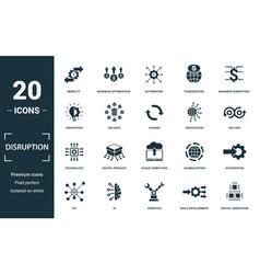Disruption icon set monochrome sign collection vector