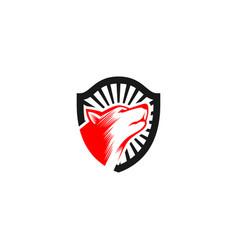 dog shield logo vector image
