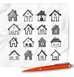 doodle houses on realistic white paper background vector image