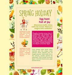 easter egg hunt celebration poster template design vector image