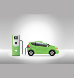 Electric car charging at charger service station vector