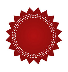 Embroidered red round ribbon stamp isolated on vector