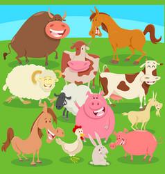 Farm animals on meadow cartoon vector