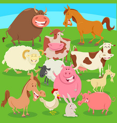 Farm animals on the meadow cartoon vector