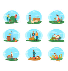 Farming people working on field gardening set vector