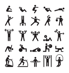 fitness pictogram characters doing exercises vector image