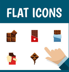 flat icon chocolate set of delicious bitter vector image