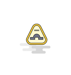 Flat jump road sign icon vector