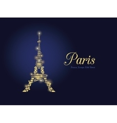 Golden Glowing Eifel Tower in Paris vector image