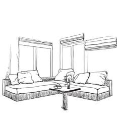 Hand drawn sketch of modern living room interior vector