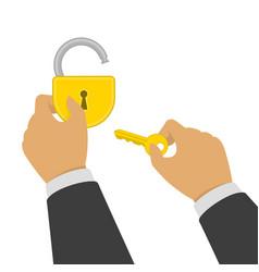 hand opens lock vector image