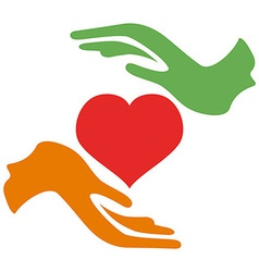 hands hold heart vector image