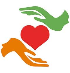 Hands hold heart vector