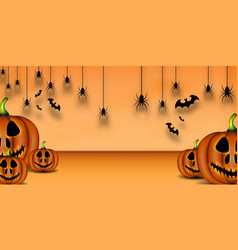 happy halloween background pumpkin bat and vector image