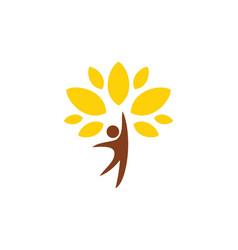 Happy man tree organic logo vector