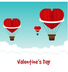 happy valentine s day card decorative with red vector image