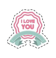i love you decor ribbon label cut line vector image
