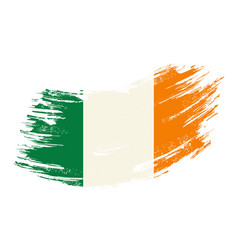 irish flag grunge brush background vector image