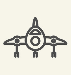 jet fighter front view line icon airplane vector image
