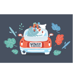 just married couple in car vector image