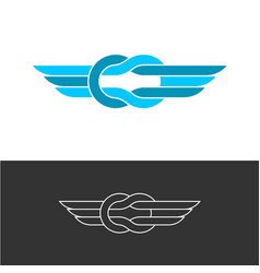 Knot style logo with triple wings two color ropes vector