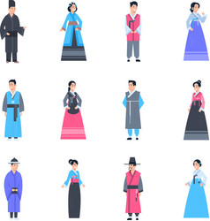 Korea traditional clothes set of women and men vector