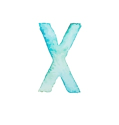 Letter X Colorful watercolor aquarelle font type vector image