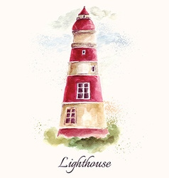 Lighthouse in watercolor technique vector image