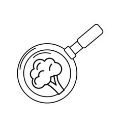 Line broccoli vegetable inside skillet pan vector